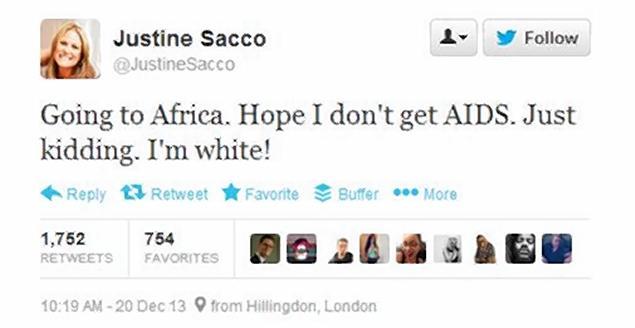 Sacco's infamous tweet